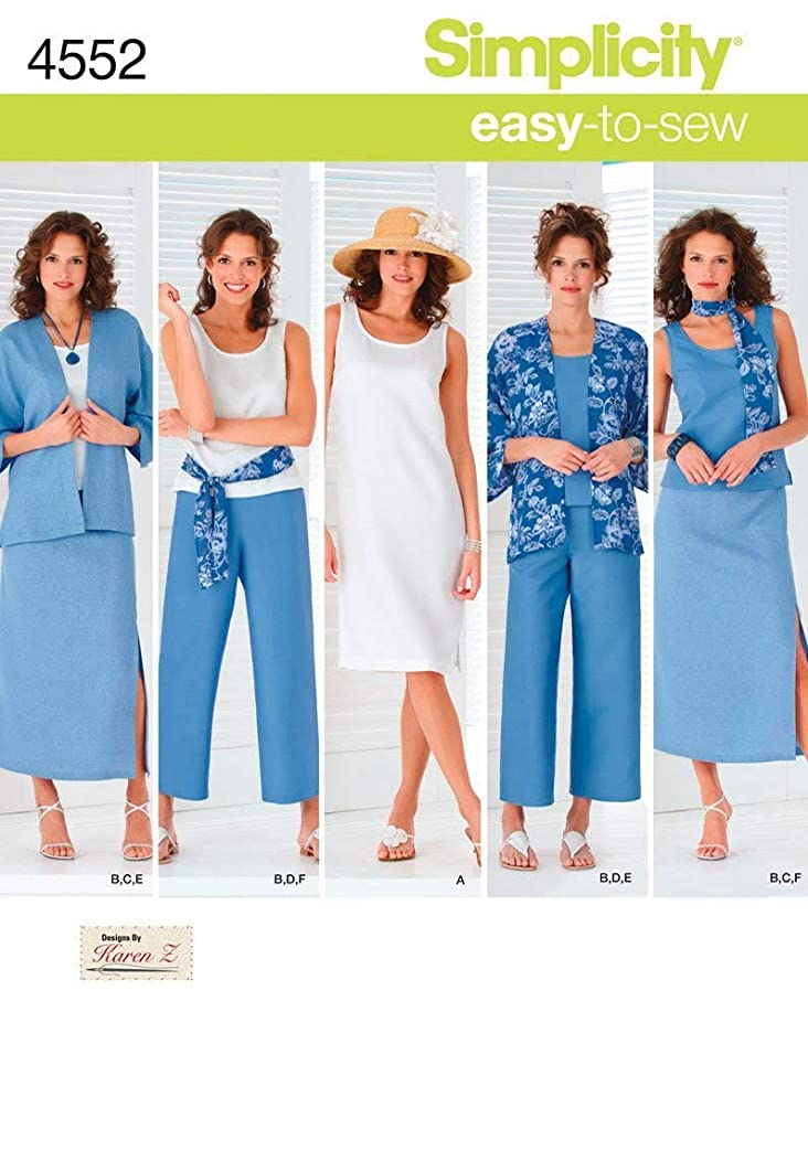 Simplicity Easy-to-Sew 4552 Plus Size Skirt, Pants, Dress, and Scarf Sewing Pattern for Women by Karen Z, Sizes AA (10-18)