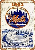ーニューヨークメッツティンサイン壁鉄絵レトロプラークヴィンテージメタルシート装飾ポスター面白いポスターバークラフトガレージカフェ家のための工芸品をぶら下げ
