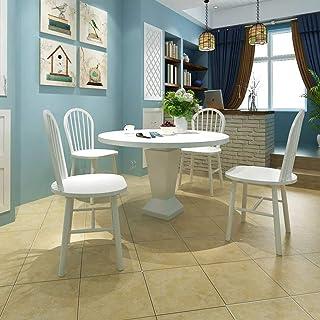 FTFTO Accesorios de decoración Juego de 4 sillas de Comedor Blancas Sillas de Cocina Redondas de construcción de Madera 46,5 x 52 x 94 cm (An x Pr x Al)
