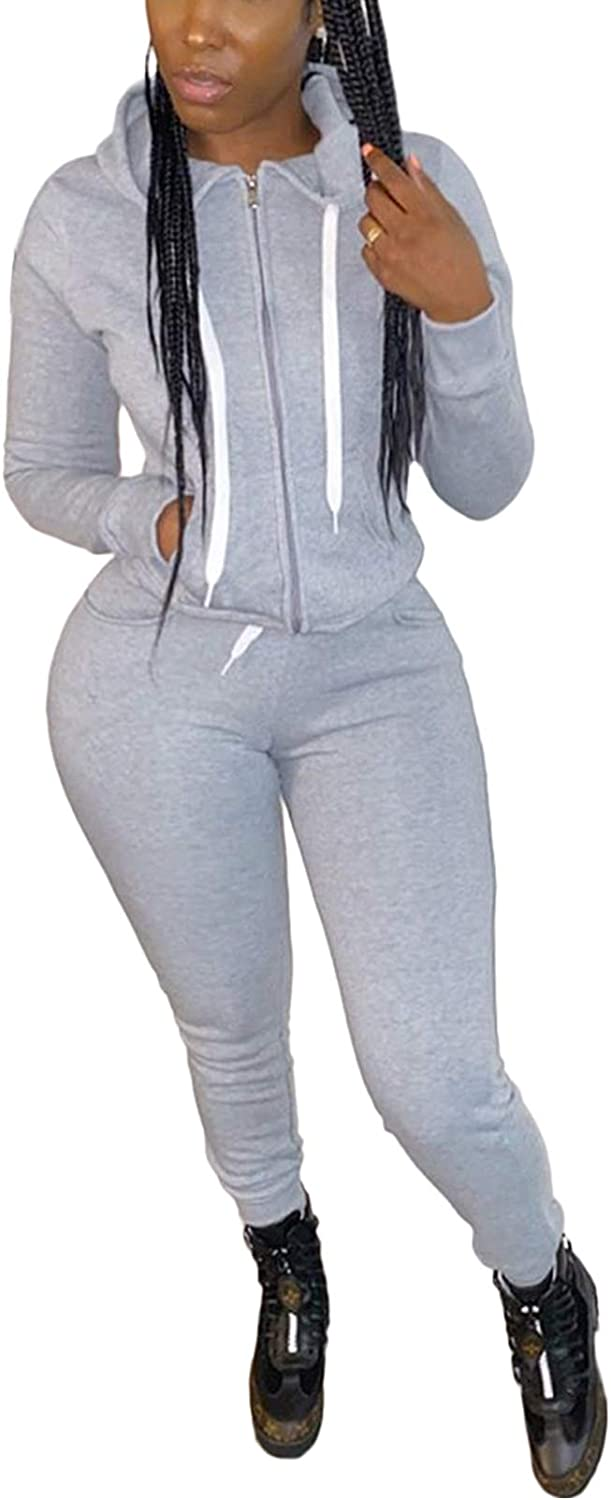 Popular brand in the world New products, world's highest quality popular! Two Piece Outfits for Women Tracksuit Sweatshirt Set Zip Hoodie