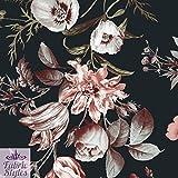 FS101_ 1base nera floreale tulipano fiori su tessuto in neoprene, jersey di alta qualità–venduto al metro