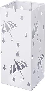 WOLTU Paragüero de Diseño Cuadrado Metal Soporte Paraguas con Ganchos y Plato de Plastico, Bandeja Recogegotas 20 x 20 x 49 cm Blanco SST02ws