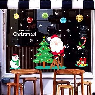 LONGTEN Merry Christmas Sticker Santa Claus Window Clings Decoration Christmas Tree Shop Mall Window Glass Wall Sticker Reindeer Christmas Snowman Snowflake Window Static Sticker Self-Adhesive (Q)
