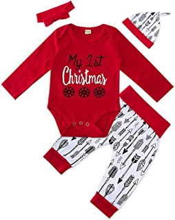 Baby Christmas Outfit Set Adorable Infant 3/4pcs Romper Bodysuit + Long Pants with Hat Bowknot Headband 0-18 Month