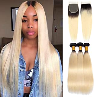 YOLAMI Hair Ombre 1b/613 Blonde Brazilian Straight Remy Human Hair Weave Bundles With Closure Dark Roots 8A Brazilian Vrigin Hair Extensions