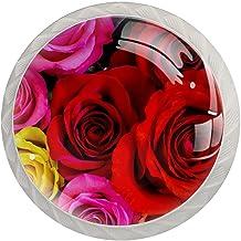Lade handgrepen trekken ronde kristallen glazen kast knoppen keuken kast handvat, roze rode bloem roos