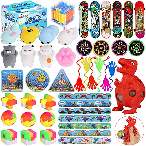 MGparty 48Pcs Party Favors for kids Toy Assortment Bundle, Carnival Prizes, Mochi Squishies, Birthday Party, Classroom Rewards, Pinata Fillers, Treasure Chest, Prize Box Toys, Goodie Bag Fillers