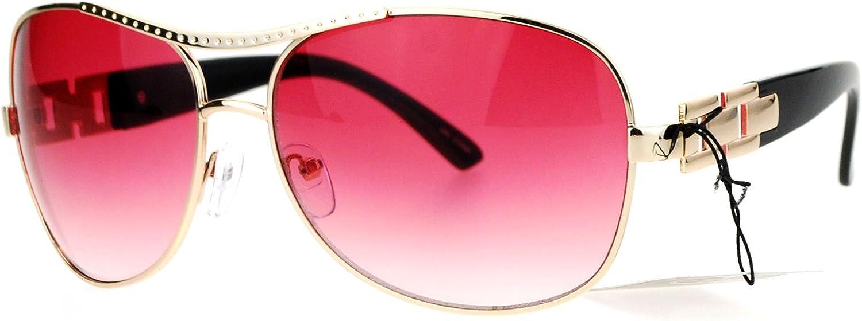 SA106 Luxury Chain Arm Womens Diva Oversize Aviator Sunglasses gold Red