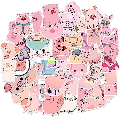 Creative Pink Pig Stickers Kawaii Little Pig Stickers Diy Photo Albums Car Suitcase Laptop Skateboard Sticker Decal 50Pcs