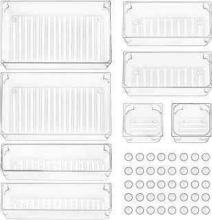 Organiseurs de Tiroir, Boîtes De Rangement Séparateur de Boîtes Plastique pour Les Cuisines, Bureaux, Chambres, Bijoux, Co...