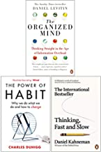 The Organized Mind, The Power of Habit, Thinking Fast and Slow 3 Books Collection Set