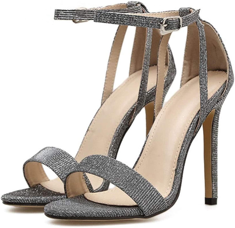 FELICIOO Damenschuhe Sommer Fisch Mund Mund Stiletto Super High Heel Sandalen (Farbe   Silber, Größe   38)  kostenloser Versand & Umtausch.