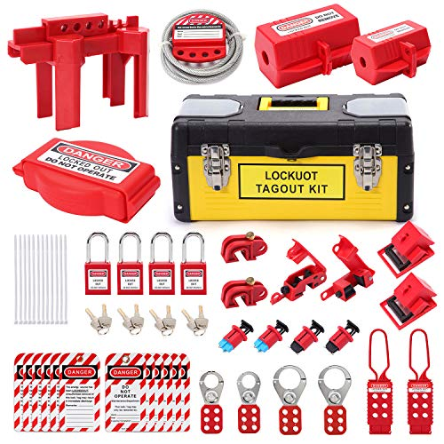Lockout Tagout Kit - Lockout Set Safety Padlocks Lockout Hasp Breaker Lockout Ball Valve Lockout Steel Cable Lockout Plug Loto Valve Lockout Loto Tags Lock Out Tag Out