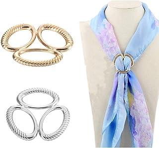 2PCS Women Girls Three Ring Scarf Ring Buckle Fashion Scarves Clip Modern Simple Triple Slide Jewelry Silk Scarf Clasp Cli...