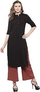 Sera Women's Ethnic Wear Solid Straight Kurta with Maroon Palazzo Mandarin Collar/Three-Quarter Sleeves Knee Length Kurta