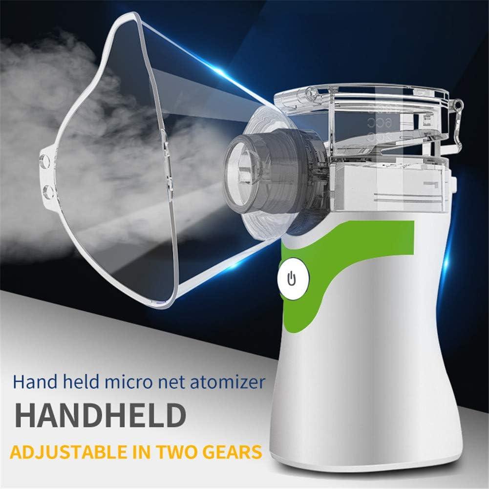Portátil De Mano De Malla Inhalador, 2 Métodos De Atomización, USB Recargable Y Tranquilo, para Adultos Y Niños Viajes Y Uso Doméstico,Verde