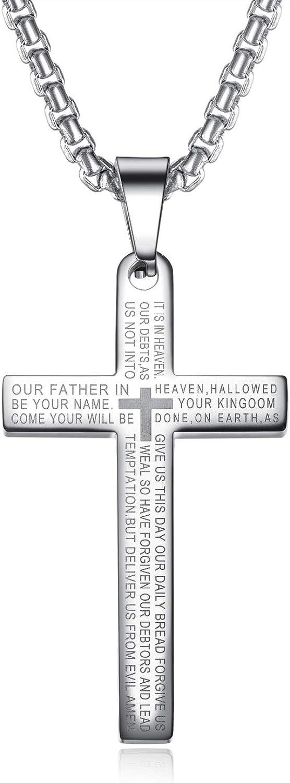 Heavstjer Fashion Stainless Steel Lord's Prayer Cross Pendant Necklace