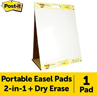 Post-it Super Sticky Portable Tabletop Easel Pad w/ Dry Erase Panel, 20x23 Inches, 20 Sheets/Pad, 1 Pad, One Side White Premium Self Stick Flip Chart Paper, One Side Dry Erase, Built-in Stand (563DE)