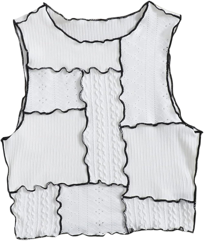 Milumia Women's Sleeveless Round Neck Ribbed Knit Lettuce Trim Crop Tank Top