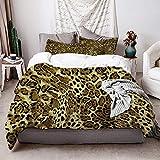 KIMDFACE Funda EdrednPiel Naranja Patrones De Leopardo Animal Abstracto Guepardo Negro 1 Piel Extica JaguarRopa de Cama Funda Nrdica,1240x260cm+250x80cm