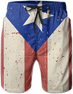 Mens Swim Trunks Summer Cool Puerto Rican Flag Quick Dry Board Shorts Bathing Suit with Side Pockets Mesh Lining M-XXL