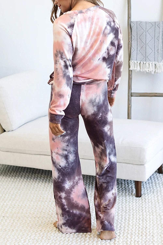 Womens Tie Dye 2 Piece Outfits Long Sleeve Top Wide Leg Pants Loose Sweatsuit Set