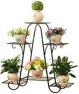 Malayas Estantería Decorativa de Hierro para Macetas Soporte de Flores Plantas para Exterior Interior Jardín con 6 estantes 77×26×72cm Color Negro