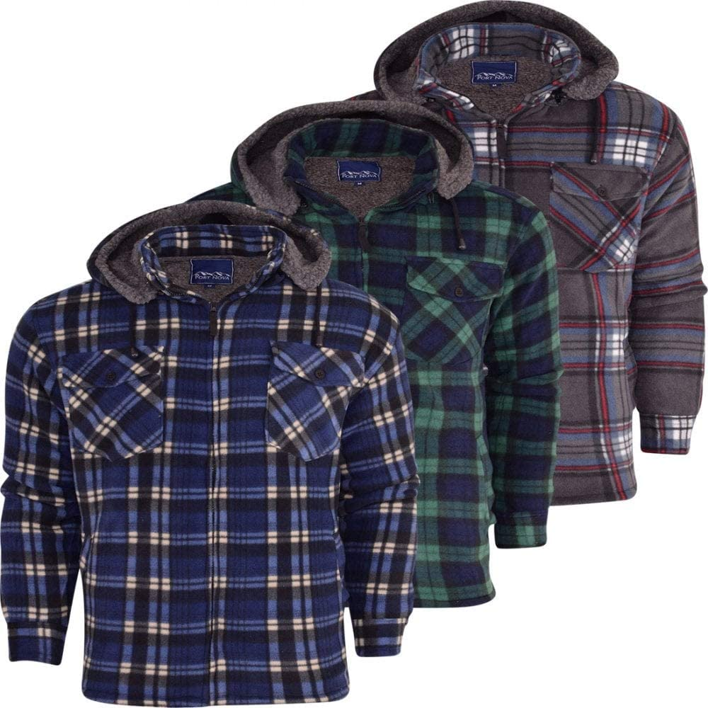 52/_DNM Mens Padded Shirt Thick Lumberjack Work Checked Hooded Fleece Sherpa Lined