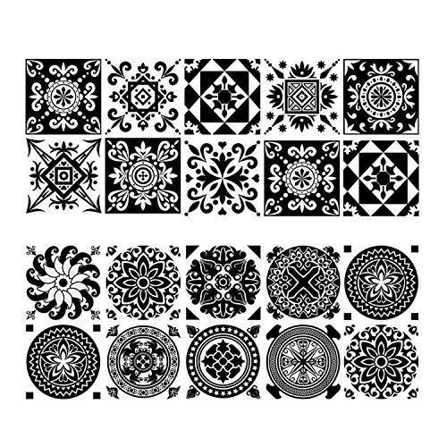 behone 20 piezas Azulejos decorativos adhesivos, Decorativos Adhesivos para Azulejos Pegatina de Pared, resistentes al agua y aceite Cenefa Autoadhesivo, para Baño y Cocina(15×15cm)