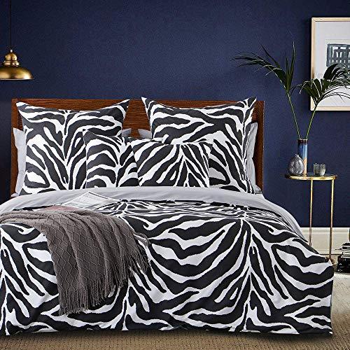 Aisbo Biancheria da letto 155 x 220 cm, 100% cotone, 2 pezzi, copripiumino con motivo – Morbidi copripiumini con cerniera nascosta e 1 federa da 80 x 80 cm