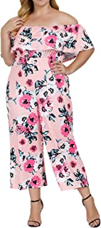3dbdc337de6 Allegrace Women s Plus Size Floral Print Off Shoulder Jumpsuit Strapless  Ruffle Long Rompers