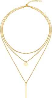 LETTARIUS Disc Bar Pendant Layering Necklace Stainless Steel Layered Chain Choker