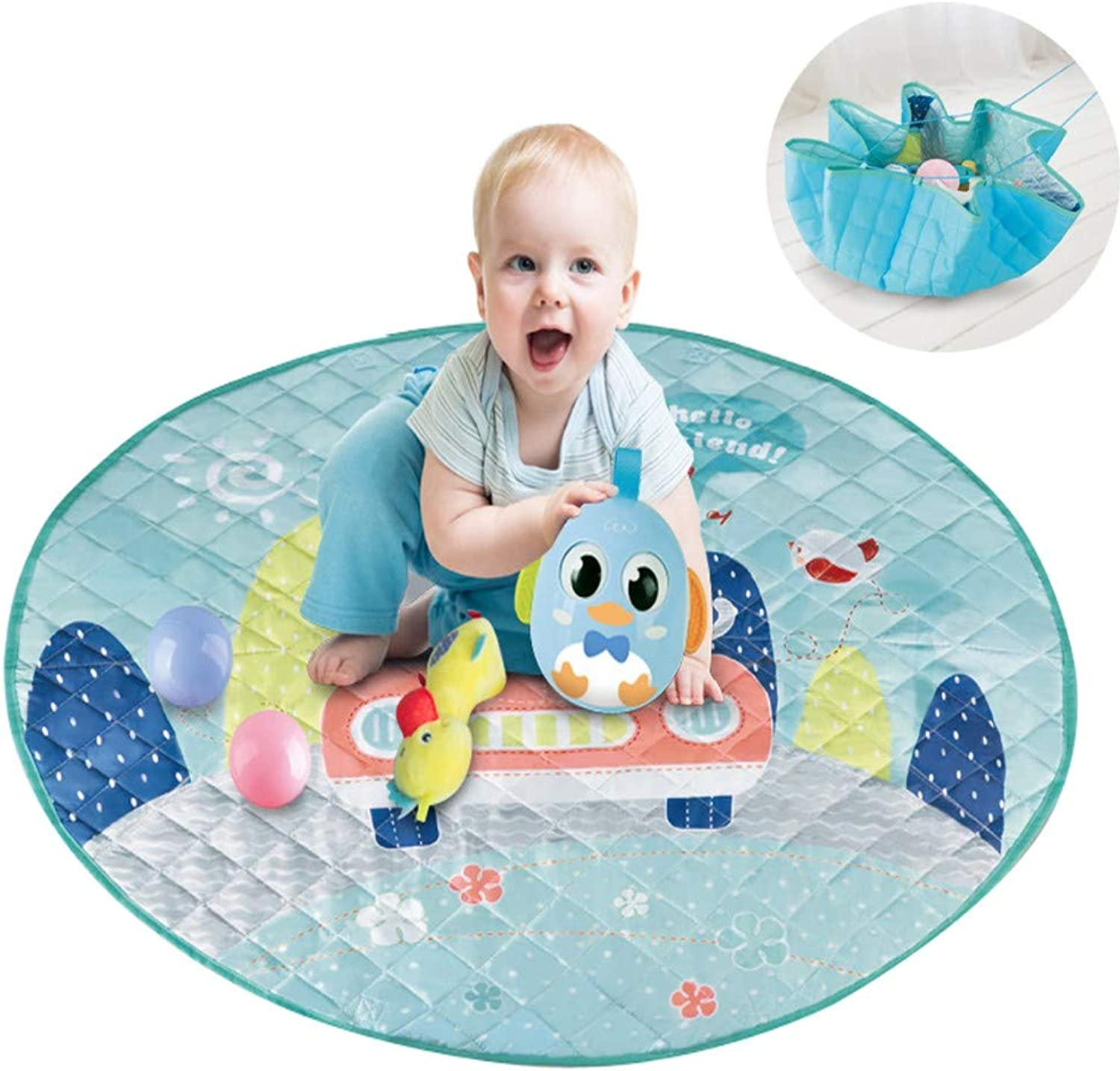 Baby Game Blanket Round Nursery Rug Carpets Playmat Cotton, Kids Toys Organizer Storage Bags, Infant Crawling Mat, Thicken Floor Mats, Kids Room Decorations,96CM