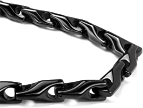 Titanium Kay Black Tungsten Carbide Men's Wheat Link Necklace Chain