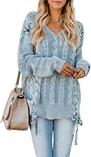 Foshow Womens Oversized Fall Pullover Sweaters Chunky Cable Knit Lace Up Long Tunic