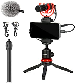 MOURIV VK-T1 PRO Smartphone Video Rig with Mini Tripod, Extension Tube, Video Microphone Compatible with iPhone and Androi...
