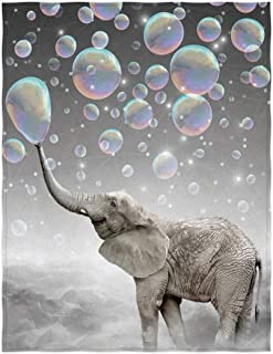 QH 60 x 80 Inch Elephant Dream Pattern Super Soft Throw Blanket for Bed Sofa Lightweight Blanket Throw Size for Kids Adults All Season