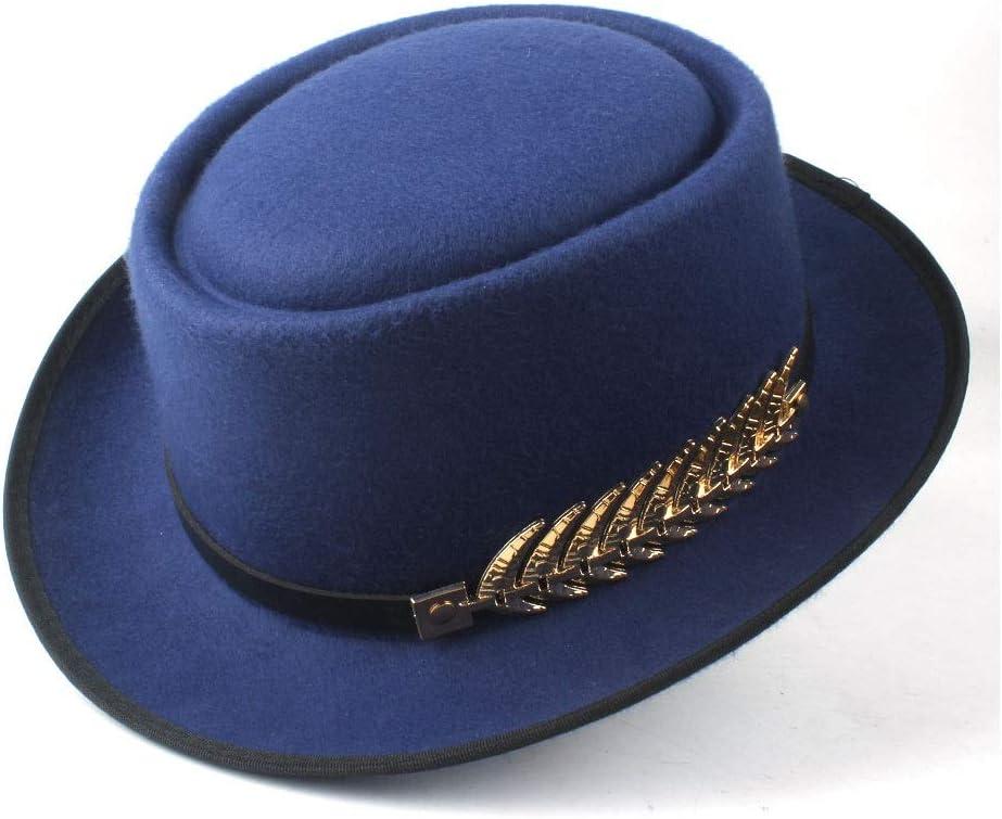 HXGAZXJQ Hxgang Men Women Winter Pork Pie Hat with Belt Pop Fedora Porkpie Jazz Hat Church Casual Hat (Color : Blue, Size : 58)