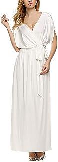 レディース セクシー ホットファッション ストラップレス スイング裾 カジュアル ディープ Vネック プラスサイズ マキシ ロング カクテルEvevingパーティルーズ ロング ドレス