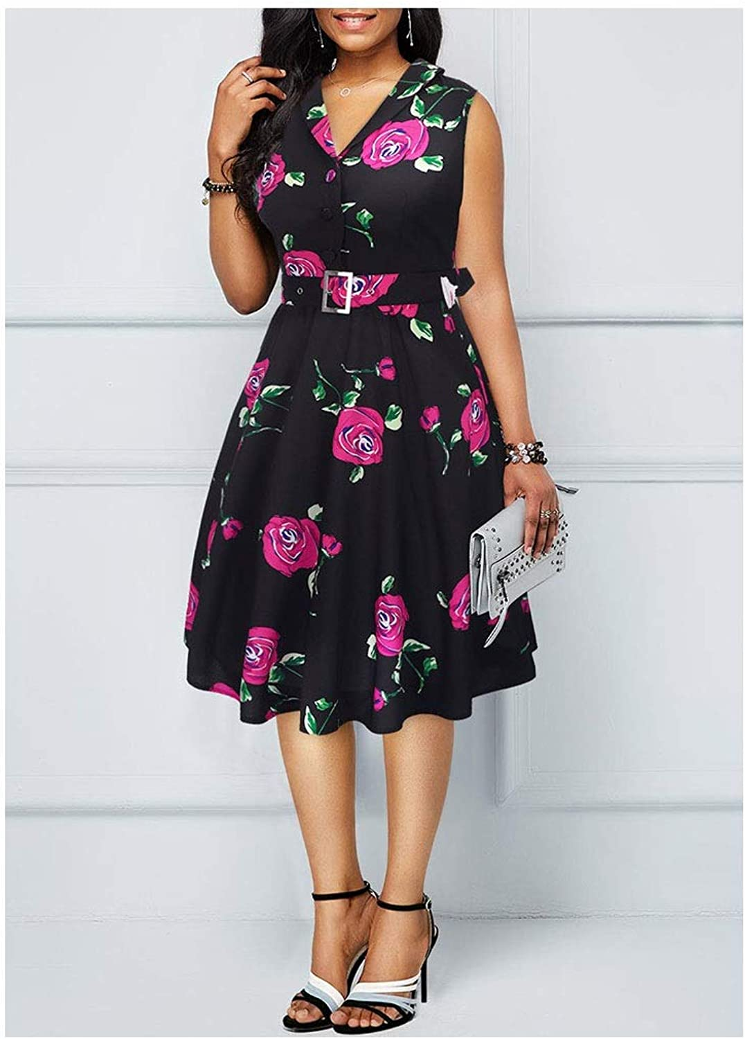 CARRY Dress, European and American Comfortable Soft Cocktail Dress Retro Lapel Waist Print Dress (color   color2, Size   L)