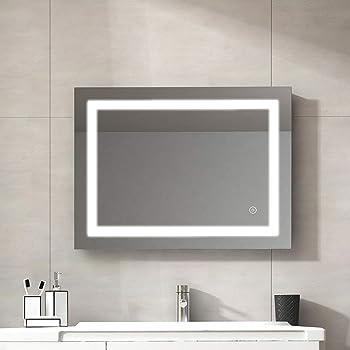 Duschdeluxe LED Badspiegel Lichtspiegel 80x60cm IP44 Badezimmerspiegel Wandspiegel Spiegel mit Beleuchtung kaltwei/ß mit Touchschalter Eenergiesparend A++