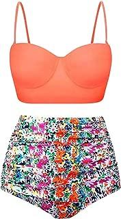 Wiwsi Ladies Sexy High Waist Swimsuit Print Swimwear Set Bathing Suit Bikini New