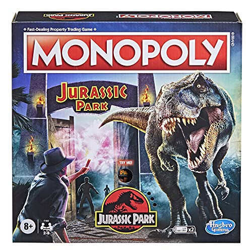 of moving dinosaurs dec 2021 theres one clear winner Hasbro Gaming Monopoly: Jurassic Park Edition Board Game for Kids Ages 8 and Up, Includes T. Rex Monopoly Token, Electronic Gate Plays SFX and Movie Theme