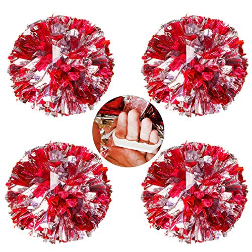 AUHOTA 4 Stücke Cheerleading Pom Poms mit Finger-freundlich Ring, Hell Metallic Cheerleader Pompons, Prämie Cheering Handblumen zum Sport Cheers Ball Dance Kostüm Party Spirit-80g/Pro (Rot/Silber)