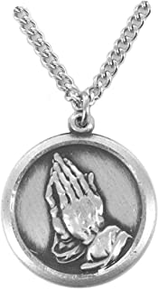 Sterling Silver Praying Hands Medal with Serenity Prayer on Back , 3/4 Inch