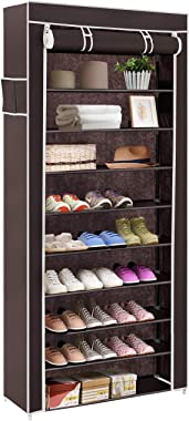 BUCKETLIST® Portable Folding Shoes Rack 9 Tiers Multi-Purpose Shoe Storage Organizer Shoe Boxes Cabinet Tower with Iron and N