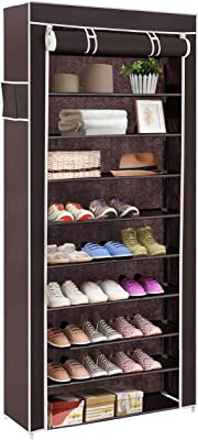 BUCKETLIST® Portable Folding Shoes Rack 9 Tiers Multi-Purpose Shoe Storage Organizer Shoe Boxes Cabinet Tower with Iron and Nonwoven Fabric with Zippered Dustproof Cover,60 x 30 x 160cm (Brown)