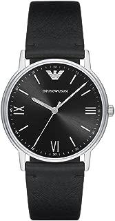 Emporio Armani Men's Kappa Stainless Steel Analog-Quartz Watch with Leather Calfskin Strap, Black, 22 (Model: AR11013)