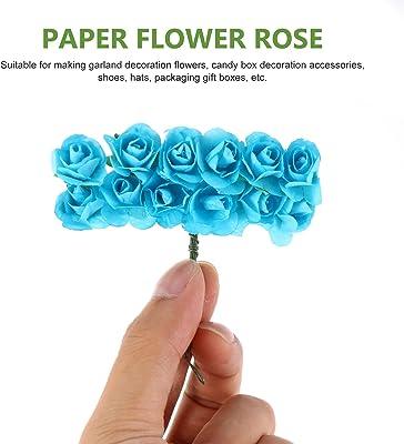 HEALLILY 144 Piezas de Flores Artificiales de Papel Rosas Falsas Cabezas de Flores de Rosas Ramo de Tallos de Rosas a Granel para DIY Flores de Boda Pinzas para El Cabello Nupciales
