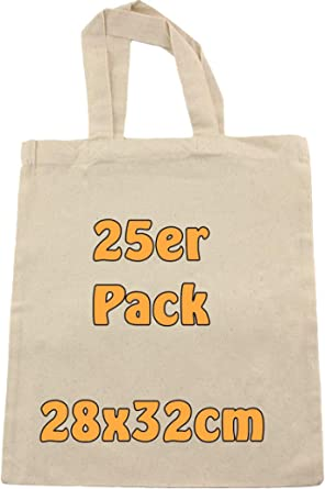 Cottonbagjoe   Baumwolltaschen zum Bemalen   28x32 cm   Stoffbeutel   DIY   Bauwollbeutel   kurze Henkel   DIN A4   Geschenktasche   Jutebeutel